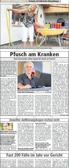 Ruhrnachrichten Dortmund vom 20.08.2013 - BLICKPUNKT PATIENTENRECHTE Verdacht auf fehlerhafte Behandlungen - Rechtsanwaltskanzlei Sabrina Diehl