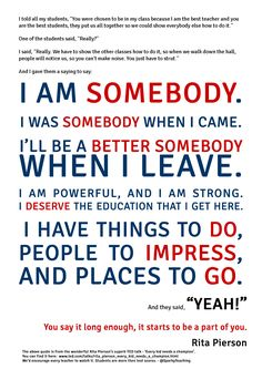 If you haven't watched Rita Pierson's TED Talk, you need to. This poster we made doesn't do it justice... A pep talk for teachers http://www.ted.com/talks/rita_pierson_every_kid_needs_a_champion.html