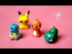 DIY CLAY POKEMON ✨ SQUIRTLE, PIKACHU, CHARMANDER, BULBASAUR ✨ Polymer Clay Charm Tutorial - YouTube