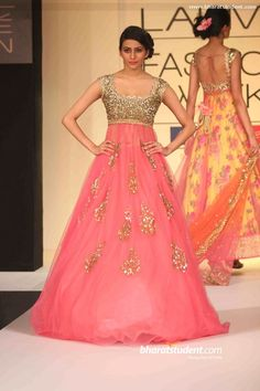 Anushree Reddy's Show at Lakme Fashion Week Summer/Resort 2013. Pink and golden gliter gown
