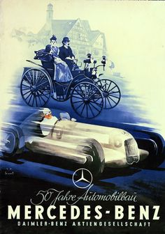 Mercedes-Benz Vintage Ad: Well-known Cologne graphic artist Jupp Wiertz designed this poster to mark the 50th anniversary of the invention of the automobile in 1936.