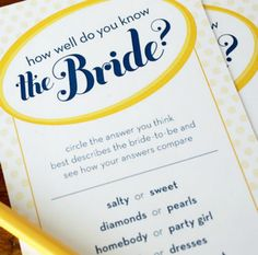 Our free printable bridal shower game costs absolutely nothing and breaks the ice for even the most reluctant player. See just how well you know the bride! - Everyday Dishes & DIY