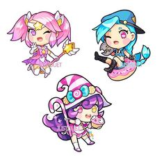 Chibis by JustDuet  Personal Acc: @Guardian_Rabbz {#Hashtags} #LeagueOfLegends #Lol #Gaming #RiotGames #Kawaii #FanArt #Anime #Art #Lux #Jinx #Lulu #StarGuardianLux #BittersweetLulu #SkinConcept #OfficerJinx by lol.artandcosplay