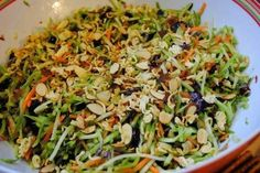 Broccoli slaw: great for potlucks or cookouts, and no mayonnaise to spoil! - Seems like a cross between something I make and my mom makes. Interesting.