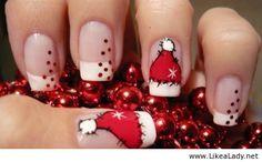 21 Fabulous and Easy Christmas Nail Designs - Christmas Nail Art - Nageldesign Cute Christmas Nails, Xmas Nails, Holiday Nails, Merry Christmas, Christmas Hat, Simple Christmas, French Christmas, Christmas Makeup, Christmas Manicure
