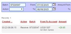 Here is my THIRTY-FIRST Withdrawal Proof from AdClickXpress. I get paid daily and I can withdraw daily. Work from home. Online income is possible with ACX, who is definitely paying - no scam here. Join me and start making money! http://www.adclickxpress.com/?r=nebmil&p=immd