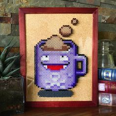 This cup of Koffee is based on a sprite by DeviantArt user AlbertoV. Fuse Bead Patterns, Perler Patterns, Beading Patterns, Loom Patterns, Loom Beading, Pixel Art Templates, Perler Bead Templates, Pokemon Perler Beads, Diy Perler Beads