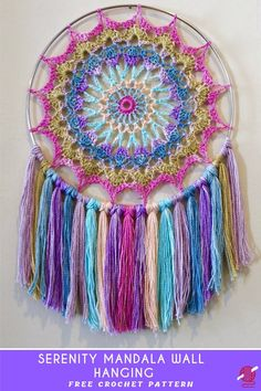 Serenity Crochet Mandala Wall Hanging [FREE] Beautiful creation, a fast and thoughtful, the great handmade gift that brings the smile, peace and harmony all year long. Crochet Dreamcatcher Pattern Free, Crochet Mandala Pattern, Doily Patterns, Crochet Art, Crochet Home, Crochet Gifts, Free Crochet, Crochet Patterns, Crochet Afghans