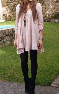Fall fashion   Black leggings, black booties and flowy pastel top