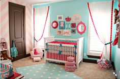 Absolutely adorable, candy & love - pink & teal girl's room <3