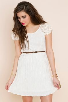 pleated crochet dress