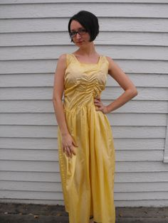 Vintage 40s 30s Yellow Gown Sleeveless Formal Dress by soulrust, $16.00