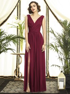 Dessy Style 2894 Floor Length Chiffon Shirred Skirt Formal Dress - Sleeveless Draped V-Neck Looking for a one of a kind dress for a very special occasion? Prom Dresses, Formal Dresses, Wedding Dresses, Burgundy Bridesmaid, Cranberry Bridesmaid Dresses, Bridesmaid Colours, Bridesmaids, Chiffon Maxi Dress, Pleated Skirt