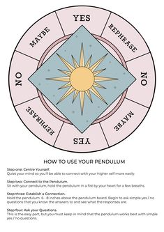 Grab our FREE pendulum board printable with easy to understand guide on how to use your pendulum. Witch Spell Book, Witchcraft Spell Books, Wiccan Spells, Pendulum Witchcraft, Witchcraft Spells For Beginners, Pendulum Board, Tarot Cards For Beginners, Easy Spells, Witch Board
