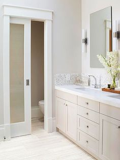 Small Bathroom Remodel: An Airy Retreat frosted glass door on bathroom pocket doors Toilet Closet, Toilet Room, Toilette Design, Master Bath Remodel, Bathroom Doors, Bathroom Pocket Door, Frosted Glass Door Bathroom, Bathroom With Closet, Master Bathroom Layout