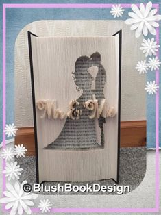 Bride and Groom Mr and Mrs Multi Layer Book Folding Pattern by BlushBookDesign on Etsy Sheet Music Crafts, Book Folding Patterns, Book Page Crafts, Book Sculpture, Paper Sculptures, Recycled Books, Magazine Crafts, Folded Book Art, Paper Crafts Origami