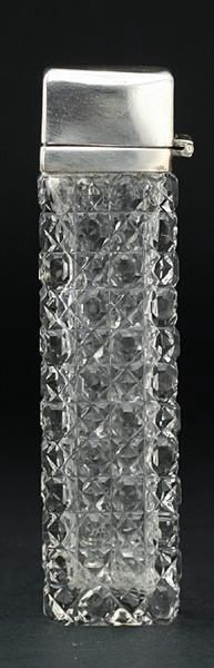 c.1910 HOBNAIL CUT GLASS SCENT PERFUME BOTTLE WITH PLATED TOP