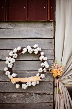 綿花のリース、かわいい♡