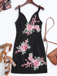 $22.99 Floral Embroidered Mini Bodycon Dress - BLACK M