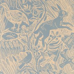 Harvest Hare by Mark Hearld is a single colour wallpaper, printed in the UK using water-based inks and paper from sustained forests.  Available in 3 colourways: blue slate, corn and chalk white.  Printed width: 52cm  Roll length: 10m  Vertical repeat: 53cm. Pattern match: Half drop.