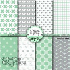 Gray and Green, Digital Paper, COMMERCIAL USE, Cute Pattern, Printable Paper, Gray, Green Paper, Planner Accessories, Background Pastel