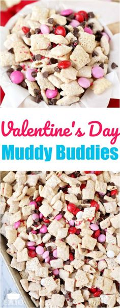 Valentine's Day Muddy Buddy Chex Mix recipe from The Country Cook #recipes #snacks #ValentinesDay #ideas