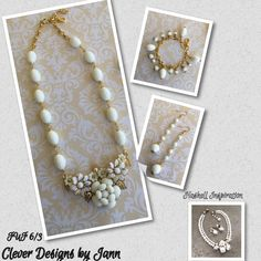 FUF 6/3 .. My Haskell inspired Parure Wedding Set .. All vintage except for B'sue chain, leaves, bead caps, rhinestones and a few no hole pearls .. Clever Designs by Jann