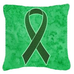 Carolines Treasures Emerald Green Ribbon for Liver Cancer Awareness Decorative Outdoor Pillow - AN1221PW1414
