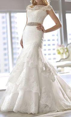 Royal Organza cap sleeve wedding dress