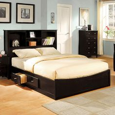 Furniture Of America Brooklyn Espresso Queen Platform Bed With Storage Cm7053q