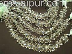 Green Amethyst Twisted Drops Gemstone Beads.