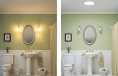 The difference in this bathroom between no TDD, with electric lights from sconces turned on, and a TDD, electric lights turned off, is eye opening. And the more you keep your lights off, the more you save in electric costs.