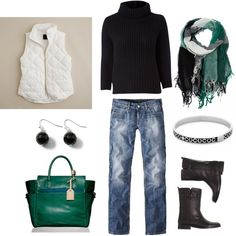 "Great outfit minus the scraf and vest...""Black and Green"" by bluehydrangea on Polyvore"