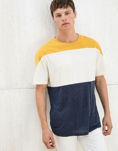 T-shirt 3 color block - T-Shirts - Bershka Portugal New T Shirt Design, Shirt Print Design, Shirt Designs, Boys T Shirts, Tee Shirts, Knit Fashion, Mens Fashion, Design Kaos, Basic Tees