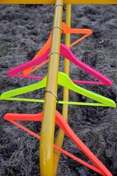 Spray wooden coat hangers #neon