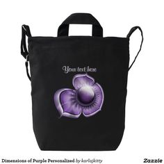 """Dimensions of Purple Personalized Duck Canvas Bag   A closeup of a beautiful glossy glowing purple flower with a jewel center and tiny inner lavender petals. Just replace the text or click on the """"Customize it!"""" button to adjust the placement, font type, color, size, etc."""