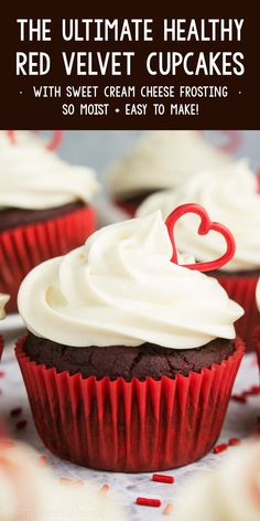 This is the ultimate, BEST EVER red velvet cupcakes recipe! They're homemade, completely from scratch, but SO easy. Topped with sweet cream cheese frosting & super moist from Greek yogurt. These healthy red velvet cupcakes are low calorie, sugar free & have a great gluten free option too! #redvelvet #cupcakes #valentinesday #dessert #recipe Healthy Cheesecake, Healthy Cookie Recipes, Healthy Cake, Healthy Baking, Cupcake Recipes, Baking Recipes, Dessert Recipes, Free Recipes, Healthy Food