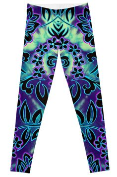 Go Tiki Wild Leggings by PolkaDotStudio, new #Polynesian #vintage #tropical #flower #tie dye #art on #trendy #fashion #apparel #pant #leggings for #leisurewear #activewear #yoga #Pilates or just looking cool!