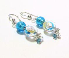 Murano Glass Aqua Earrings Venetian Jewelry Sterling by JKCJewels, $23.00