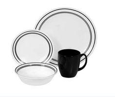 Corelle Dinnerware Set 16 Piece Set, Service for 4, Livingware Dishes Café Black