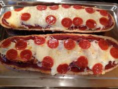 French Bread Pepperoni, Salami and Mushroom Pizza by DorothySH, via Flickr. Made with Bridgford pepperoni!