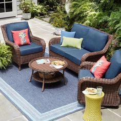 Hampton Bay Cambridge Brown Wicker Outdoor Patio Loveseat with Standard Midnight Navy Blue Cushions - The Home Depot Resin Patio Furniture, Patio Furniture Cushions, Backyard Furniture, Rustic Furniture, Outdoor Furniture Sets, Outdoor Decor, Antique Furniture, Furniture Ideas, Modern Furniture