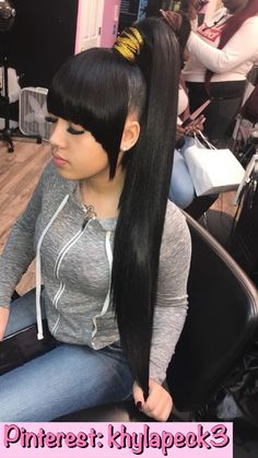 ponytail styles Top quality malaysian virgin hair straight 3 bundles with lace closure,factory direct sales 100 remy human hair extensions Weave Ponytails With Bangs, Bangs Ponytail, Weave Ponytail Hairstyles, Long Ponytails, Sleek Ponytail, Ponytail Styles, Easy Hairstyles For Medium Hair, Afro Hairstyles, Black Women Hairstyles