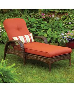 Patio Furniture~ Two of these! Better Homes and Gardens Azalea Ridge Chaise Lounge Outdoor Rocking Chairs, Outdoor Cushions, Outdoor Sofa, Outdoor Living, Garden Cushions, Outdoor Rooms, Outdoor Decor, Iron Patio Furniture, Garden Furniture