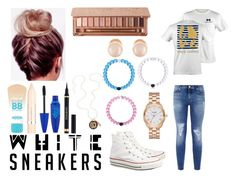 """White sneakers 😛"" by agrava ❤ liked on Polyvore featuring Converse, 7 For All Mankind, Kate Spade, Kenneth Jay Lane, Maybelline, L'Oréal Paris, Yves Saint Laurent and Urban Decay"