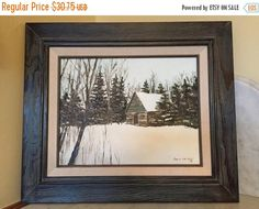 Vintage Winter Landscape Rapid River, MI by Dave Carlson Framed Acrylic on Canvas Log Cabin in Winter Rustic Decor Impressionism Gift by Samanthasunshineshop on Etsy Etsy Shop Owner, Winter Landscape, Home Goods Decor, Etsy Vintage, Vintage House, Vintage Home Decor, Etsy Finds, Vintage, Etsy