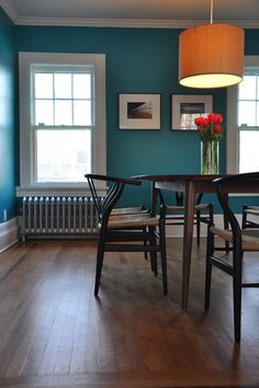 Slow Home Space Planning & Organization: The Dining Room. Benjamin Moore Surf Blue - color for the bedroom? Wall Colors, House Colors, Paint Colors, Accent Colors, Colours, Teal Paint, Home Design, Home Interior, Interior Design