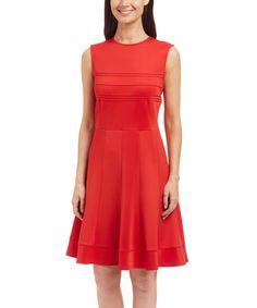 Look at this #zulilyfind! Red Pleated Fit & Flare Dress #zulilyfinds