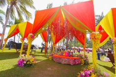 Colorful outdoor decor for Sajinee and Raman's mehendi