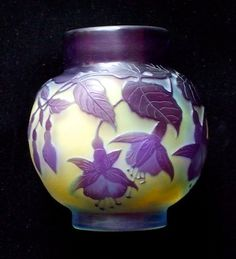 A Delightful Galle Cameo Glass Miniature 'Pot' With A Beautiful Fuchsia Design In Two Colours.